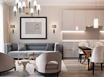 Пример оформления гостиной в стиле «Аквилон»